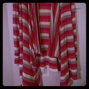 Lane Bryant hot pink stripe sweater light Weight